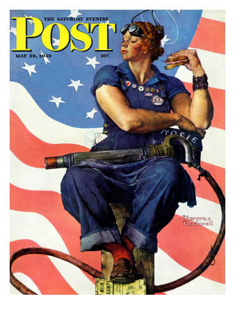 Rockwell Norman Rosie the riveter saturday evening post cover may
